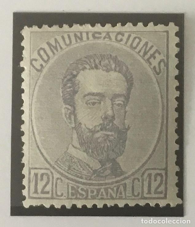 1872-ESPAÑA AMADEO I EDIFIL 122 MH* 12 CÉNTIMOS LILA GRISÁCEO - NUEVO - (Sellos - España - Amadeo I y Primera República (1.870 a 1.874) - Nuevos)