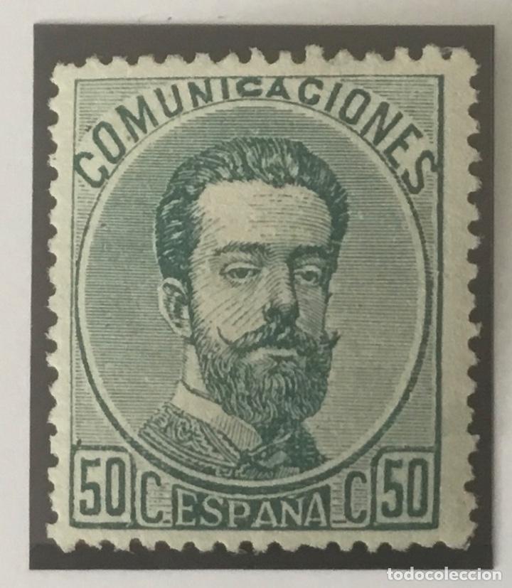 1872-ESPAÑA AMADEO I EDIFIL 126 (*) 50 CÉNTIMOS VERDE - NUEVO - (Sellos - España - Amadeo I y Primera República (1.870 a 1.874) - Nuevos)
