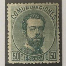 Sellos: 1872-ESPAÑA AMADEO I EDIFIL 126 MH* 50 CÉNTIMOS VERDE - NUEVO -. Lote 209672778
