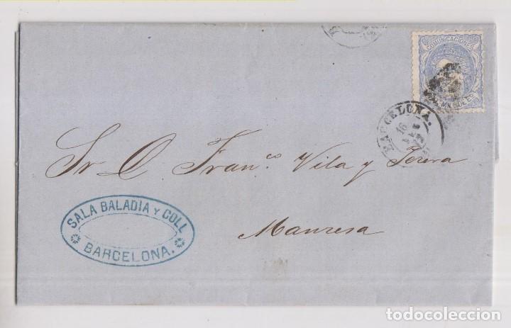 CARTA ENTERA. BARCELONA A MANRESA. 1872. MATRONA (Sellos - España - Amadeo I y Primera República (1.870 a 1.874) - Cartas)