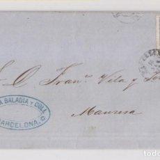 Sellos: CARTA ENTERA. BARCELONA A MANRESA. 1872. MATRONA. Lote 209861467