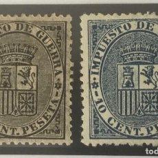 Sellos: 1874-ESPAÑA ESCUDO DE ESPAÑA EDIFIL 141/142 MH* - SERIE COMPLETA -. Lote 210218830