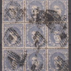 Timbres: 1870 BLOQUE DE 9 USADOS NUM 107A MATASELLOS ROMBO DE PUNTOS. Lote 210486317