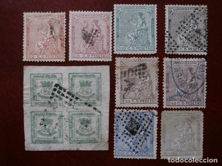 PRIMER CENTENARIO - 1873 - CORONA MURAL Y ALEGORIA DE ESPAÑA - EDIFIL - 130/138-. (Sellos - España - Amadeo I y Primera República (1.870 a 1.874) - Usados)