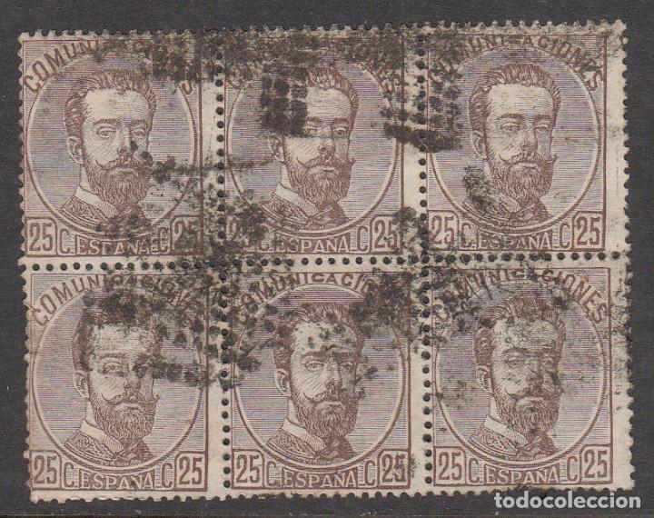 1872 BLOQUE DE 6 SELLOS DEL NUM. 124 CON MATASELLOS ROMBO DE PUNTOS (Sellos - España - Amadeo I y Primera República (1.870 a 1.874) - Usados)