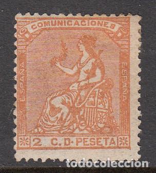 1873 SELLO NUM. 131 NUEVO CON GOMA Y SEÑAL DE FIJASELLOS (Sellos - España - Amadeo I y Primera República (1.870 a 1.874) - Nuevos)