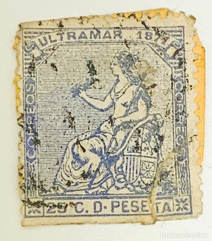 SELLO ESPAÑA 1871 ULTRAMAR 25 CENTIMOS AZUL (Sellos - España - Amadeo I y Primera República (1.870 a 1.874) - Usados)