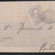 Selos: FRONTAL, TETUAN A BILBAO, SELLO 10 C AMADEO I, MARCA, *CORREO ESPAÑOL EN AFRICA CERTIFICADO TETUAN*. Lote 215485356