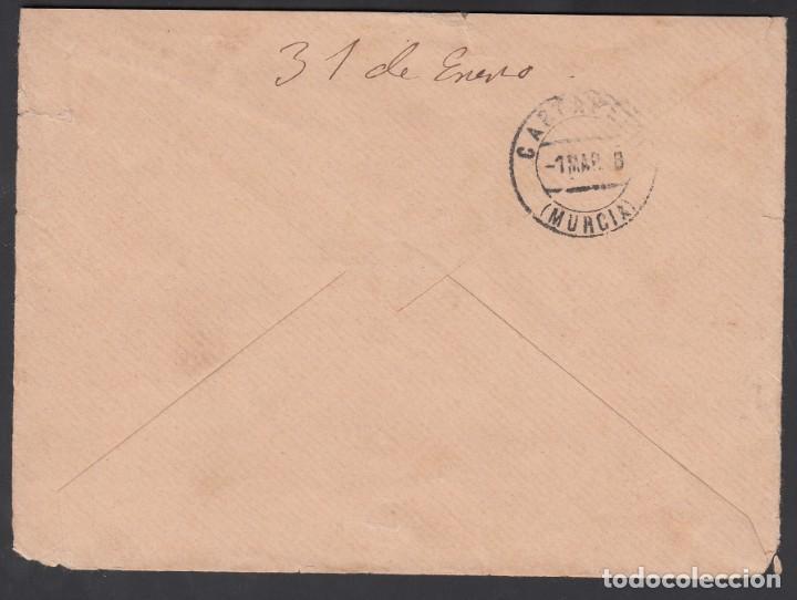 Sellos: Barcelona a Cartagena, circulada con franqueo mixto sello Filipinas 6 ctvos y 15 cts Alfonso XIII. - Foto 2 - 215514880