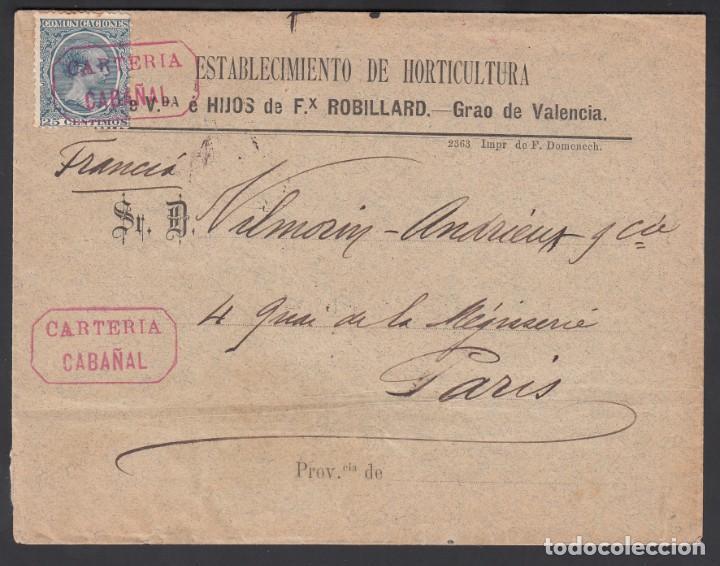VALENCIA A PARIS, CARTERIA MUNICIPAL DE INICIATIVA PRIVADA DE CABAÑAL, (VALENCIA) EN ROJO (Sellos - España - Amadeo I y Primera República (1.870 a 1.874) - Cartas)