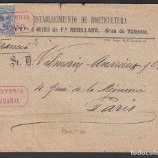 Sellos: VALENCIA A PARIS, CARTERIA MUNICIPAL DE INICIATIVA PRIVADA DE CABAÑAL, (VALENCIA) EN ROJO. Lote 215517035