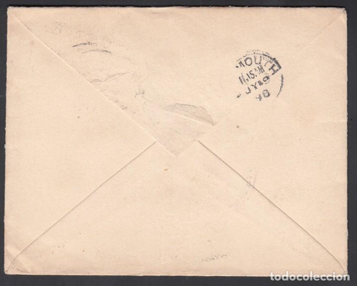 Sellos: Carta circulada a Plymouth, sellos 1/4, 5 cts, 20 cts Alfonso XIII. Mat. PAQUEBOT. LIVERPOOL - Foto 2 - 215529165
