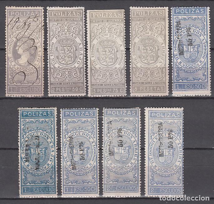 PÓLIZAS, 1870 - 1874 LOTE DE SELLOS PARA PÓLIZAS DE BOLSA. DISTINTOS TIPOS Y VALORES. (Sellos - España - Amadeo I y Primera República (1.870 a 1.874) - Nuevos)