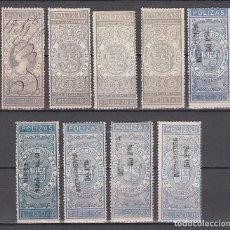 Sellos: PÓLIZAS, 1870 - 1874 LOTE DE SELLOS PARA PÓLIZAS DE BOLSA. DISTINTOS TIPOS Y VALORES.. Lote 215565788