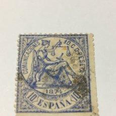 Selos: SELLO ESPAÑA SPAIN 145 1874 ALEGORÍA DE LA JUSTICIA USADO. Lote 216719317