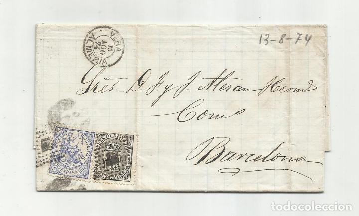 CIRCULADA Y ESCRITA EMBARQUE GOLETA ANITA 1874 DE GARRUCHA VERA ALMERIA A BARCELONA (Sellos - España - Amadeo I y Primera República (1.870 a 1.874) - Cartas)