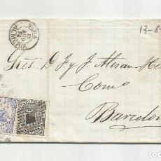Selos: CIRCULADA Y ESCRITA EMBARQUE GOLETA ANITA 1874 DE GARRUCHA VERA ALMERIA A BARCELONA. Lote 217436735