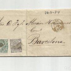 Selos: CIRCULADA Y ESCRITA MINA SOMONTIN 1874 DE GARRUCHA VERA ALMERIA A BARCELONA. Lote 217437541