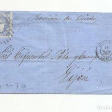 Sellos: CIRCULADA 1870 DE ALMERIA A GIJON OVIEDO. Lote 217455066