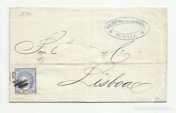 CIRCULADA Y ESCRITA 1870 DE SEVILLA A LISBOA PORTUGAL (Sellos - España - Amadeo I y Primera República (1.870 a 1.874) - Cartas)