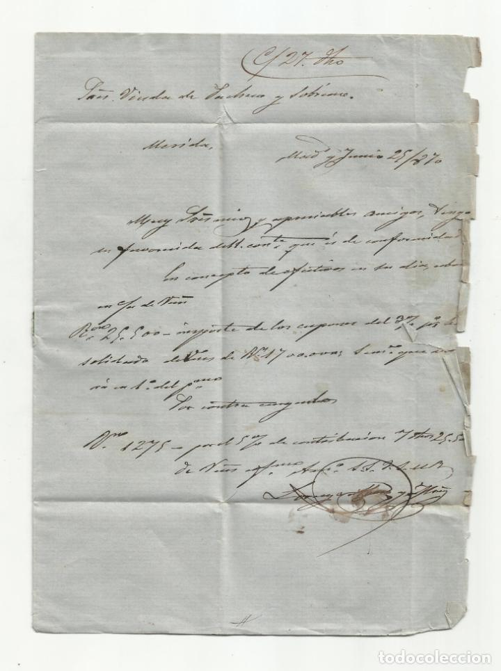 Sellos: circulada y escrita 1870 de madrid a merida badajoz - Foto 2 - 218695183