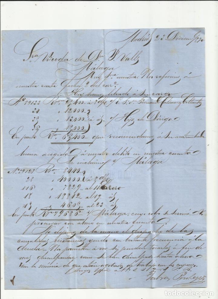 Sellos: circulada y escrita 1870 de madrid a malaga con parrilla numerada 1 - Foto 2 - 218695342