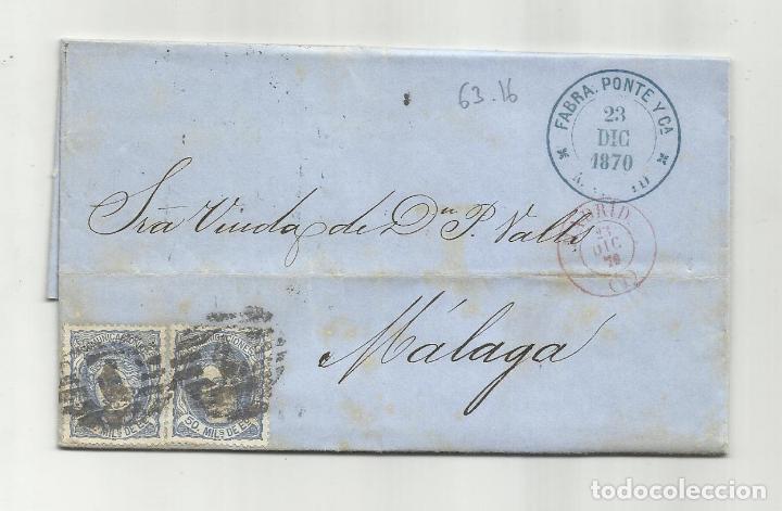 CIRCULADA Y ESCRITA 1870 DE MADRID A MALAGA CON PARRILLA NUMERADA 1 (Sellos - España - Amadeo I y Primera República (1.870 a 1.874) - Cartas)