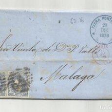 Sellos: CIRCULADA Y ESCRITA 1870 DE MADRID A MALAGA CON PARRILLA NUMERADA 1. Lote 218695342