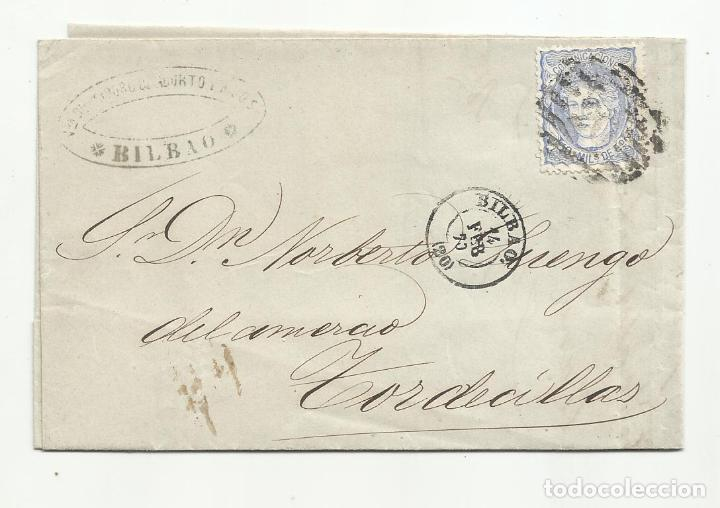 CIRCULADA SAL SUPERIOR DE CADIZ 1870 DE BILBAO A TORDESILLAS VALLADOLID CON PARRILLA NUMERADA 20 (Sellos - España - Amadeo I y Primera República (1.870 a 1.874) - Cartas)