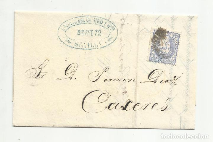 IMPRESO CIRCULADO 1872 DE SEVILLA A CACERES CON PARRILLA (Sellos - España - Amadeo I y Primera República (1.870 a 1.874) - Cartas)