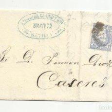 Selos: IMPRESO CIRCULADO 1872 DE SEVILLA A CACERES CON PARRILLA. Lote 218707382