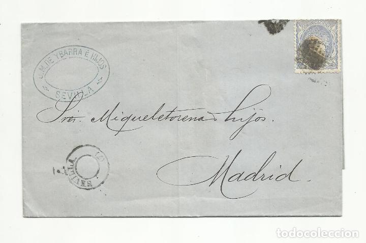 CIRCULADA 1872 DE SEVILLA A MADRID (Sellos - España - Amadeo I y Primera República (1.870 a 1.874) - Cartas)