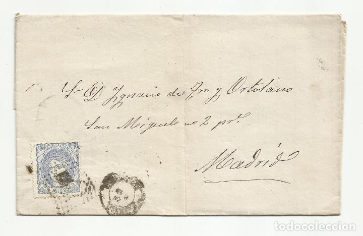 CIRCULADA 1872 A MADRID (Sellos - España - Amadeo I y Primera República (1.870 a 1.874) - Cartas)