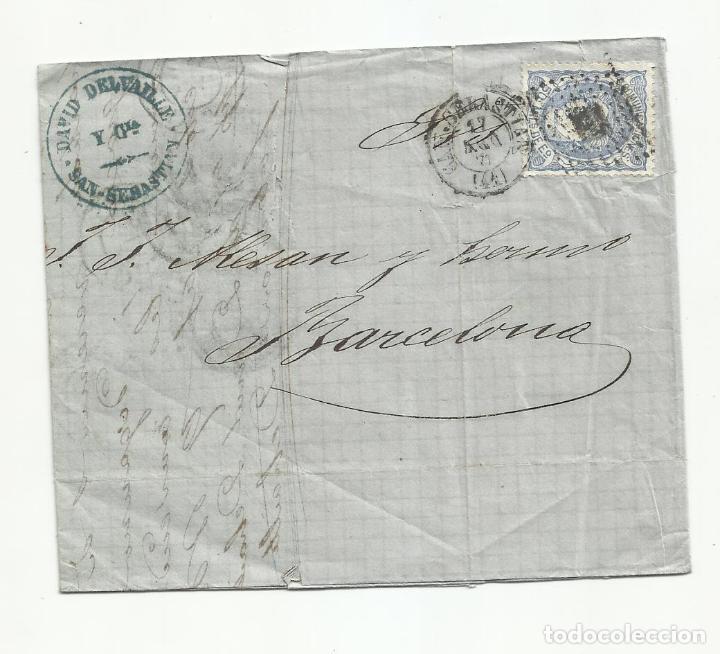 CIRCULADA Y ESCRITA 1871 DE SAN SEBASTIAN A BARCELONA (Sellos - España - Amadeo I y Primera República (1.870 a 1.874) - Cartas)