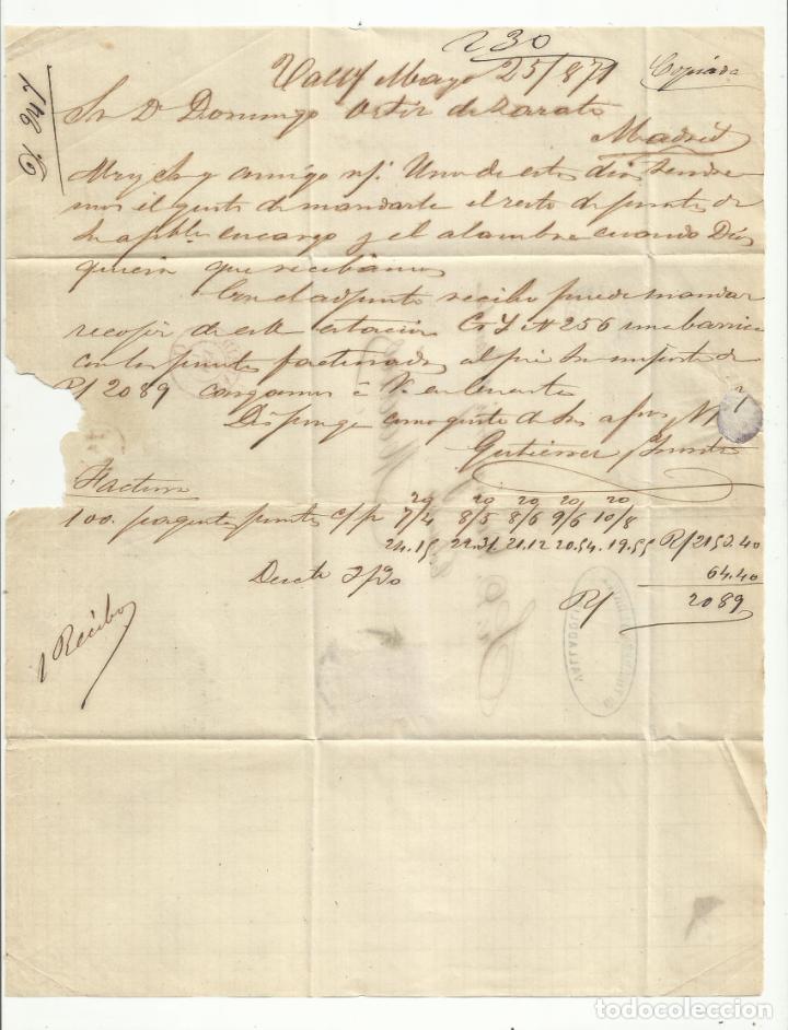 Sellos: circulada Y ESCRITA 1871 de valladolid a madrid rueda carreta - Foto 2 - 218718252