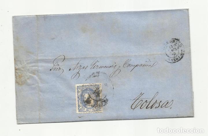 CIRCULADA Y ESCRITA 1870 DE VALLADOLID A TOLOSA GUIPUZCOA RUEDA CARRETA (Sellos - España - Amadeo I y Primera República (1.870 a 1.874) - Cartas)
