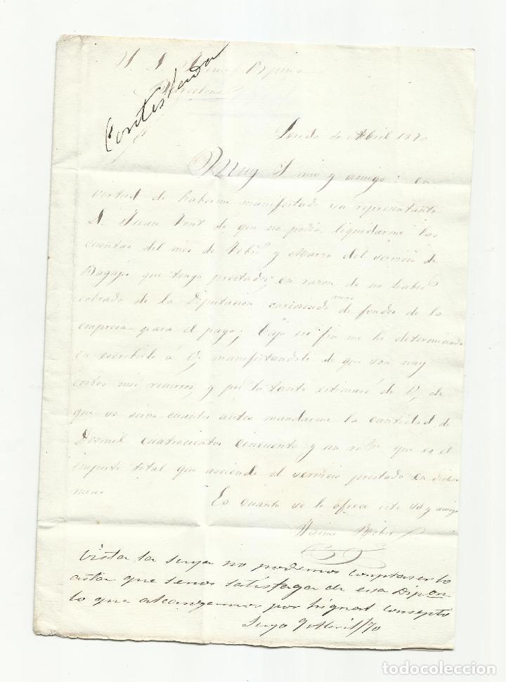 Sellos: circulada Y ESCRITA 1870 de lerida a barcelona con parrilla numerada - Foto 2 - 218721117