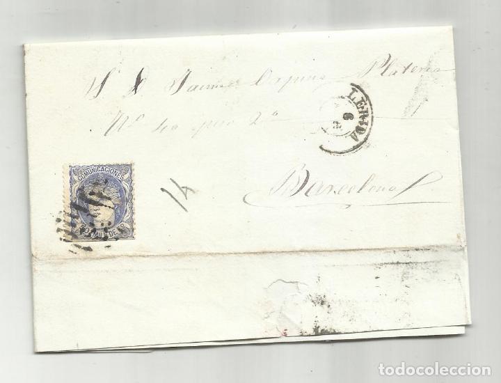 CIRCULADA Y ESCRITA 1870 DE LERIDA A BARCELONA CON PARRILLA NUMERADA (Sellos - España - Amadeo I y Primera República (1.870 a 1.874) - Cartas)