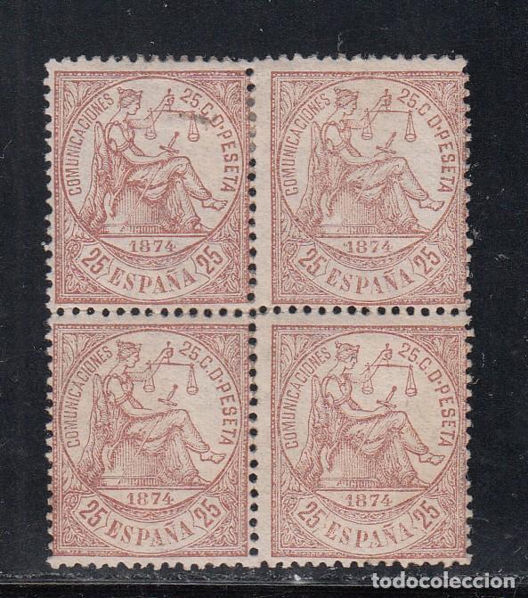 ESPAÑA, 1874 EDIFIL Nº 147 **/*, 25 C. CASTAÑO, BLOQUE DE CUATRO. (Sellos - España - Amadeo I y Primera República (1.870 a 1.874) - Nuevos)
