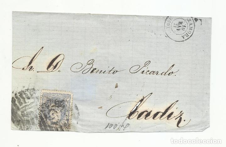 FRONTALCIRCULADA 1871 DE ZAMORA A CADIZ (Sellos - España - Amadeo I y Primera República (1.870 a 1.874) - Cartas)