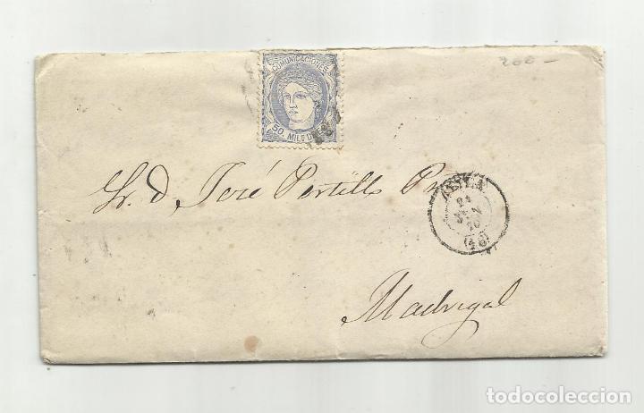 CIRCULADA Y ESCRITA 1870 DE AVILA A MADRIGAL (Sellos - España - Amadeo I y Primera República (1.870 a 1.874) - Cartas)