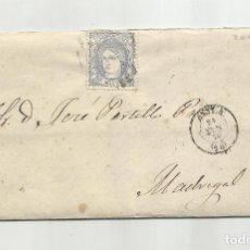 Selos: CIRCULADA Y ESCRITA 1870 DE AVILA A MADRIGAL. Lote 218855888