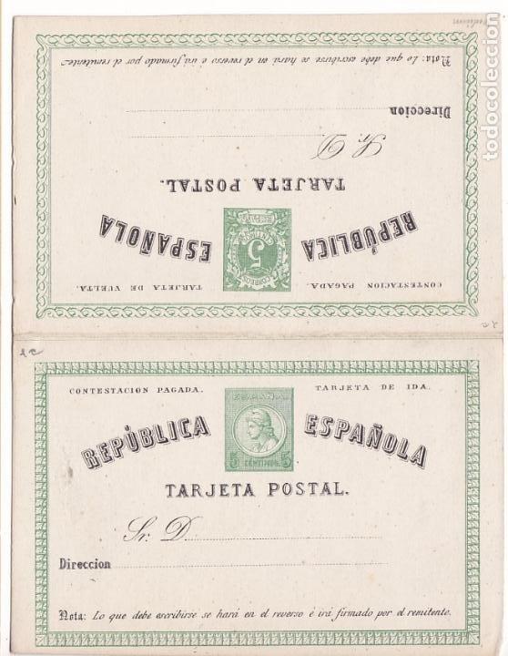 HP4-11-ENTERO POSTAL DOBLE EDIFIL 4 NUEVO. (Sellos - España - Amadeo I y Primera República (1.870 a 1.874) - Cartas)