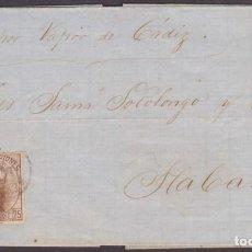 """Sellos: 1873 CARTA CON EL SELLO AMADEO EDIFIL Nº 124 DE MÁLAGA A CUBA """"POR VAPOR DE CÁDIZ"""". Lote 219422578"""