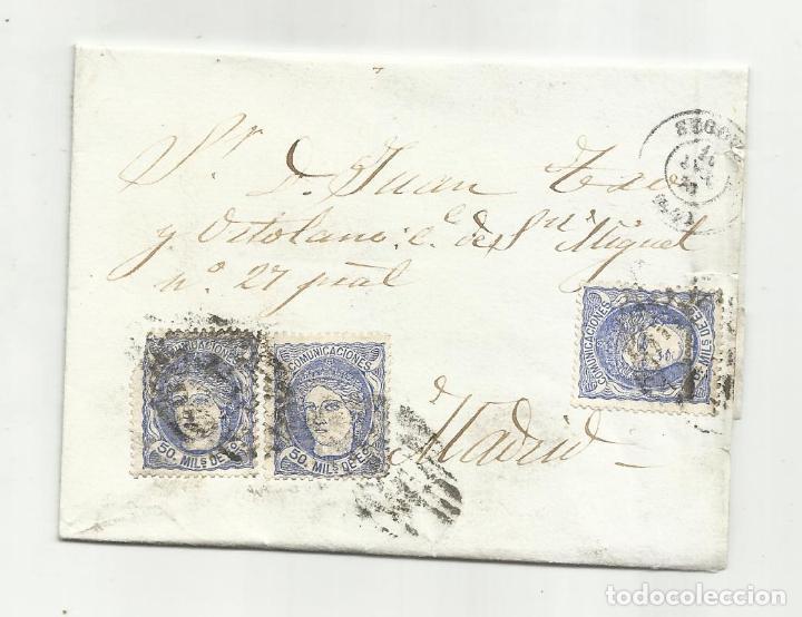 ENVUELTA CIRCULADA 1870 DE SEGOVIA A MADRID CON ARAÑA DE LLEGADA (Sellos - España - Amadeo I y Primera República (1.870 a 1.874) - Cartas)