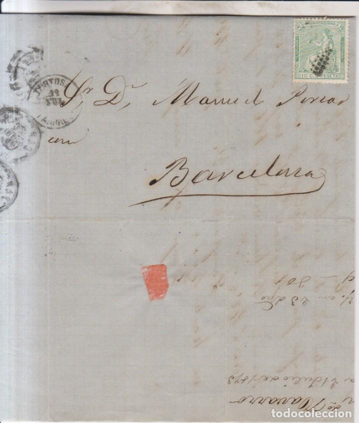 AÑO 1873 EDIFIL 133 ALEGORIA CARTA DE CHERTA MATASELLOS ROMBO TORTOSA MEMBRETE FERNANDO NAVARRO (Sellos - España - Amadeo I y Primera República (1.870 a 1.874) - Cartas)