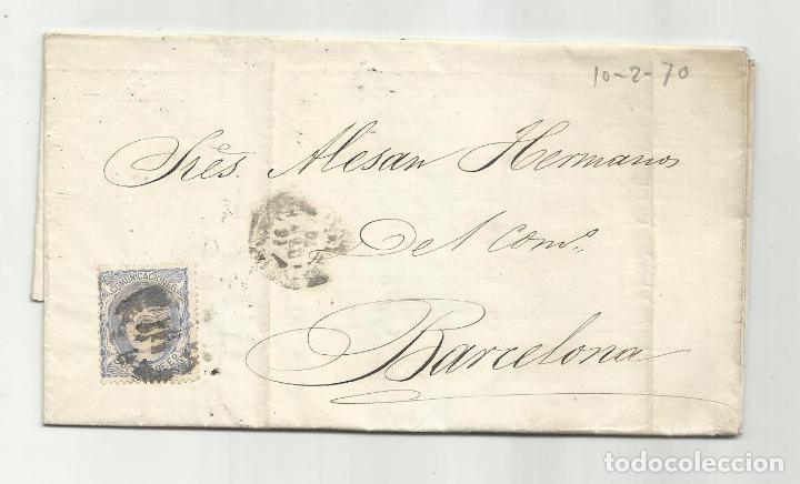 CIRCULADA Y ESCRITA NEGOCIOS DE HIERRO 1870 DE GARRUCHA VERA ALMERIA A BARCELONA (Sellos - España - Amadeo I y Primera República (1.870 a 1.874) - Cartas)
