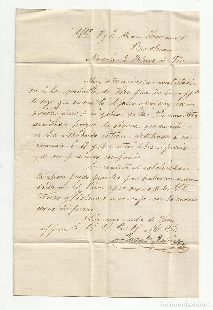 Sellos: circulada Y ESCRITA NO HACE FALTA SALCHICHON 1870 DE ALMERIA A BARCELONA - Foto 2 - 221859715