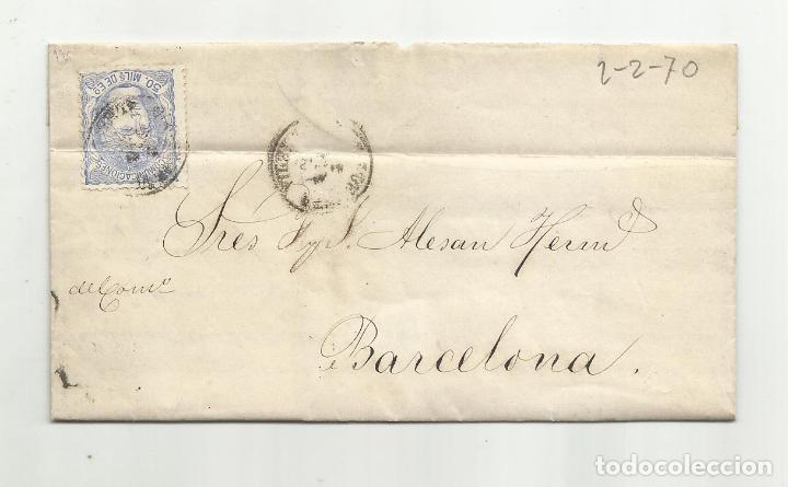 CIRCULADA Y ESCRITA NO CONVIENEN LAS HARINAS NI EL MAIZ 1870 DE CUEVAS DE VERA ALMERIA A BARCELONA (Sellos - España - Amadeo I y Primera República (1.870 a 1.874) - Cartas)