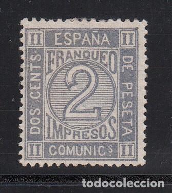 ESPAÑA, 1872 EDIFIL Nº 116 (*), 2 C. GRIS, CIFRAS (Sellos - España - Amadeo I y Primera República (1.870 a 1.874) - Nuevos)